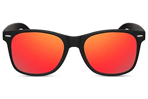 Cheapass Occhiali da Sole Classici Opachi con una Montatura Nera con Lenti a Specchio Rosse UV400 da Uomo e Donna
