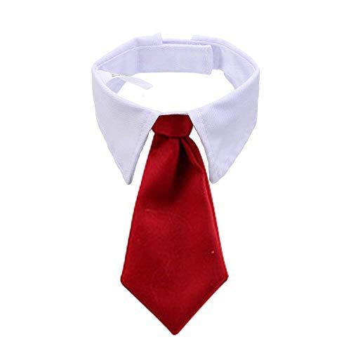 BERYLX Collar de pajarita para mascota/disfraz de mascota, corbata de cuello de perro gato con lazo ajustable para gato cachorro accesorios de aseo (rojo)