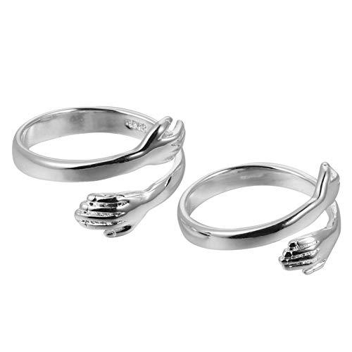 WINOMO 2 anillos de mujer y niña de plata con manos que abrazan anillo abierto, joyas de abrigo, anillos de declaración de alianzas de boda para vestido de mujer, regalo para hombre