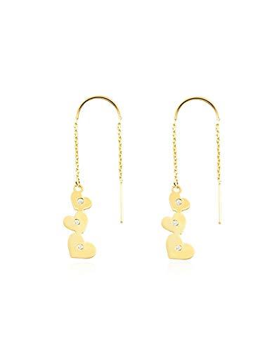 Dames & kinderen ketting hart met zirkonia oorbellen - geel goud 9 karaat (375)