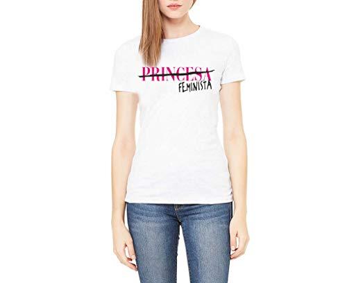 Camiseta Chica Corte básico Frase Princesa Feminista (Blanco, XXL)