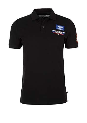 Q/S designed by - s.Oliver Herren Poloshirt mit Top Gun-Print Black XL