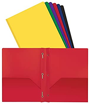 Better Office Products Poly 2 Pocket Folders with Prongs Heavyweight 6 Pieces Assorted Primary Colors Letter Size