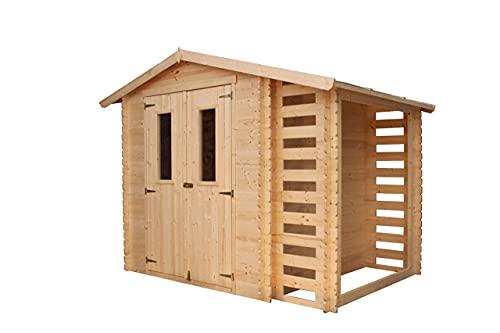 TIMBELA Gartenhaus Holz Mit Brennholzschuppen M386C+M386G - Geräteschuppen Holz mit Boden Imprägnierte B272xL206xH218 cm/ 3,53 + 0,97 m2 Lagerschuppen - Fahrradgarage Holz Wasserfestes Dach