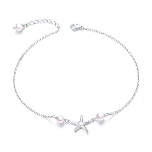 Starfish Anklet for Women S925 Sterling Silver Adjustable Foot Ocean Beach Ankle Bracelet
