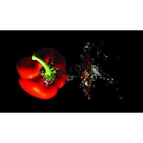 Planche a decouper en verre géante 52 x 30 cm motif poivron rouge sur fond noir code 22390495