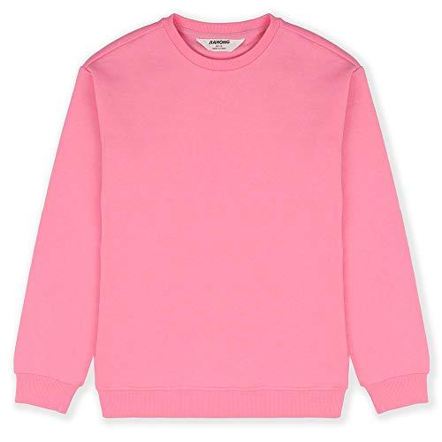 JIAHONG Kids' Soft Brushed Fleece Pullover Long Sleeve Crewneck Sweatshirt for Boys or Girls (Pink-s(5-6))