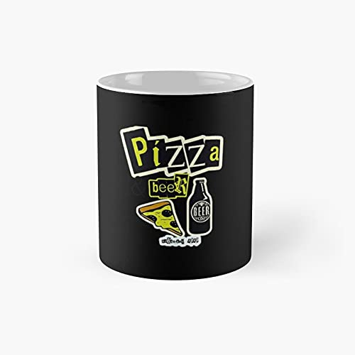 Pizza Beer Classic Mug - Ceramic Coffee White (11 Ounce) Tea Cup Gifts For Bestie, Mom And Dad, Lover, Lgbt