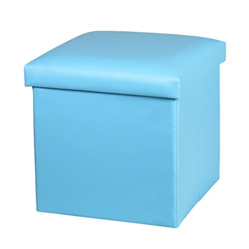 NISUNS OT01 Leather Folding Storage Ottoman Cube Footrest Seat, 12 X 12 X 12 Inches (Sky Blue)