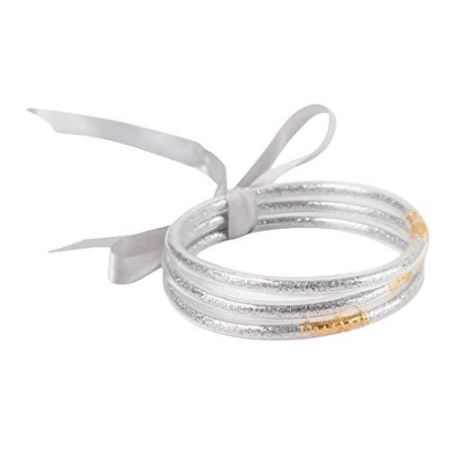 ZYYXB Armreifen Stapel 3 Schichten Silikon Funkeln glänzende Jelly Armband Frauen Fill Goldpuder Bowknot Freundschaft Glitzer Armbänder (Silber)