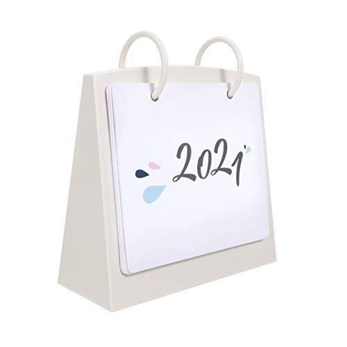 STOBOK Calendario de mesa 2021 con calendario de mes y día, de papel con espiral de plástico, calendario decorativo diario para oficina en casa