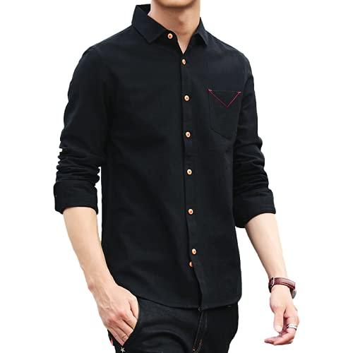 Camisas Casuales para Hombres Camisa de Manga Larga con Botones básicos clásicos, Simples y cómodos, de Color sólido, a la Moda M