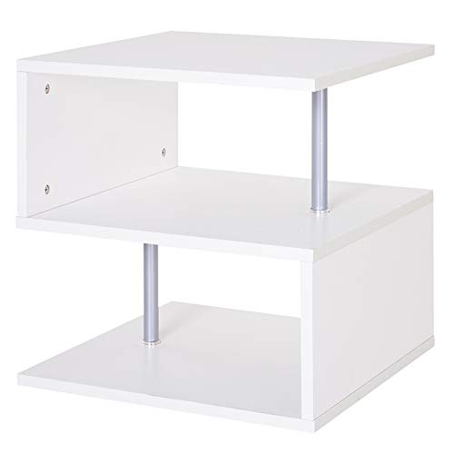 HOMCOM Coffee End Table S shape 2 Tier Storage Shelves Organizer Versatile Home office furniture (White)