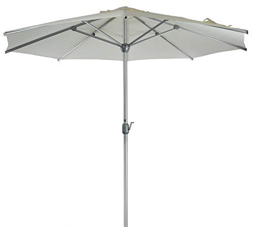 SORARA Apple Parasol de Jardin Exterieur | Blanc | Ø 300 cm / 3 m | Rond | Diamètre du Mât Ø 48 mm | Commande à Manivelle (Pied excl.)