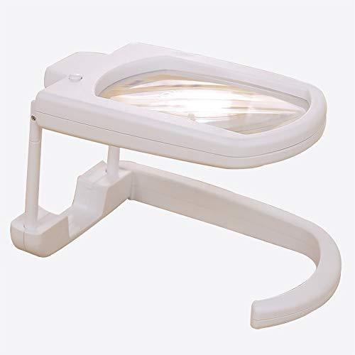LED-lamp 3x handsfree vergrootglas, 360° draaiende verlichtingsbeugel, leeslicht, rechthoekig vergrootglas, hobby en handwerk voor het lezen van reparatiewerkzaamheden