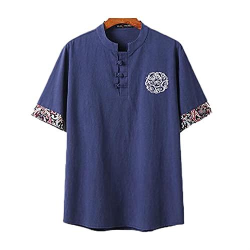 Camiseta sin cuello de algodón de lino para hombre, camiseta de manga corta retro con bordado de estilo chino, camiseta holgada de abuelo, manga corta con botones ligeros, camisetas de salón de verano
