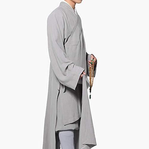 Moter Pijamas de Caballero Tradicionales, Vestido Vestido de hábito Budista Vestido Monk Monk,Gris,XL