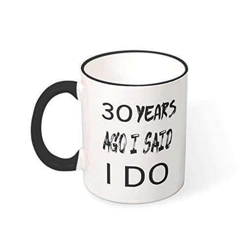 Taza de 30 años aniversario de boda, de porcelana, personalizable, humor Halloween, presente negro, 330 ml
