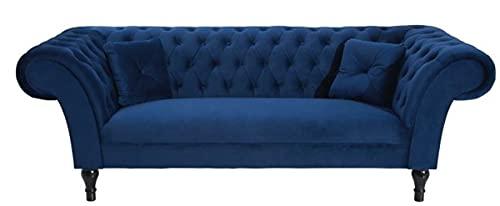 Casa Padrino Chesterfield Sofa in Blau 225 x 90 x H. 79 cm - Designer Chesterfield Sofa
