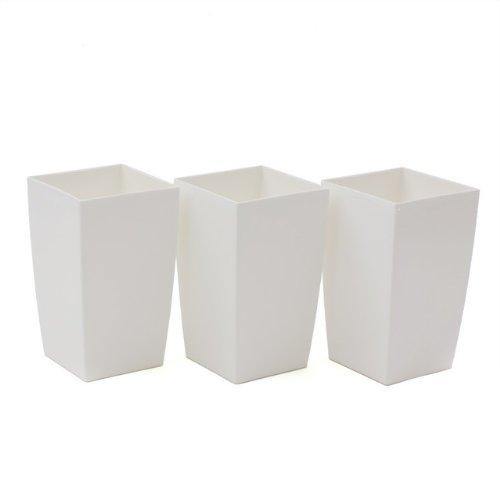 Prosperplast 3X Pot de Fleur Coubi 2L Fond survéelé Largeur 120 mm carré décoration Blanc
