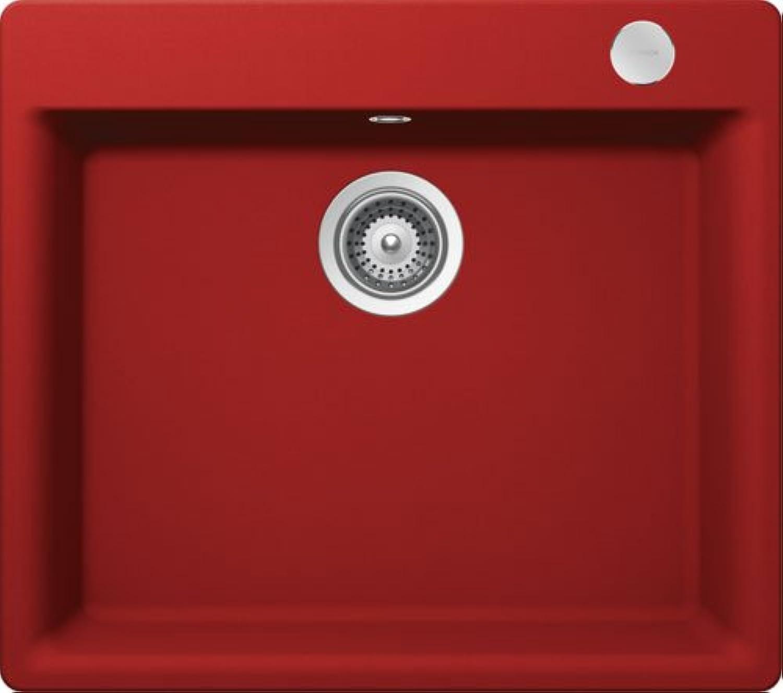 SCHOCK Einbauspüle MONO N-100L-FB, rot Cristadur, Unterschrank 60 cm, Montage flchenbündig, MONN100LFBROU
