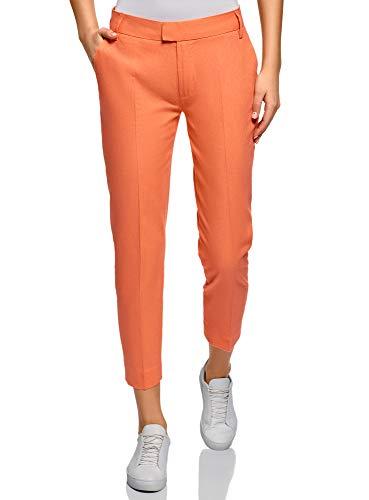 oodji Collection Donna Pantaloni Cropped in Lino, Arancione, IT 40 / EU 36 / XS