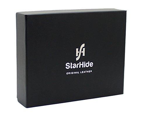 STARHIDE Mens RFID Blocking Embossed Croco Genuine Distressed Hunter Leather Wallet 1200 (Matt Black)