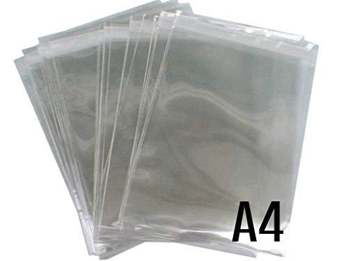 ADEPTNA Pack of 100 A4 Cello Bags Crystal Clear High Quality- Cellophane Self Seal Bags