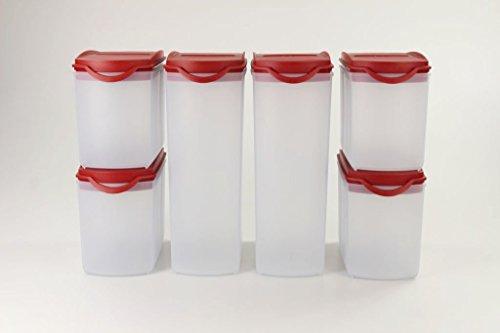 Tupperware Eid genossen Plus 2,2L (2) + 1,0L (4) Rojo secar tarro Modular Tarro P 25053