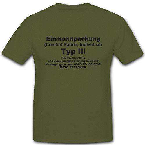 EPA Einmannpackung Typ 3 Bundeswehr Militär Nahrung Fressen Dosenfutter Esbit - T Shirt #4977, Farbe:Oliv, Größe:XXL