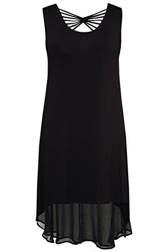 Ulla Popken Damen große Größen bis 60, Jerseykleid, Kleid mit tiefem Rundhalsausschnitt, ausgestellter Saum & Chiffon-Blende schwarz 54/56 715833 10-54+