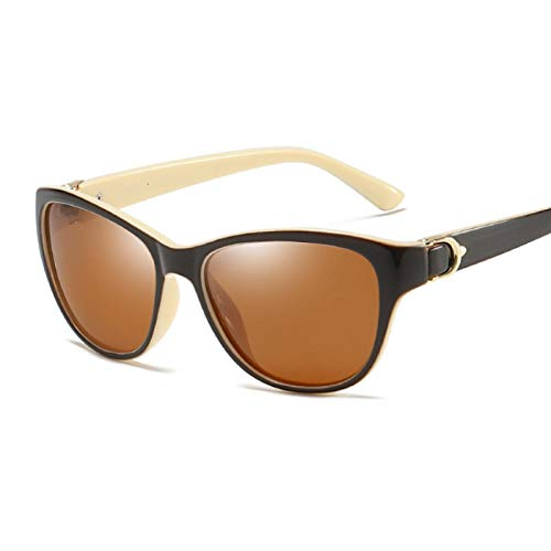 HAOMAO Gafas de Sol polarizadas con Forma de Ojo de Gato para Mujer, Elegantes Gafas de conducción para Mujer, Beige, marrón
