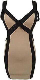 فستان صيفي لحفلات النوادي جذاب للنساء، مقاس M، بيج