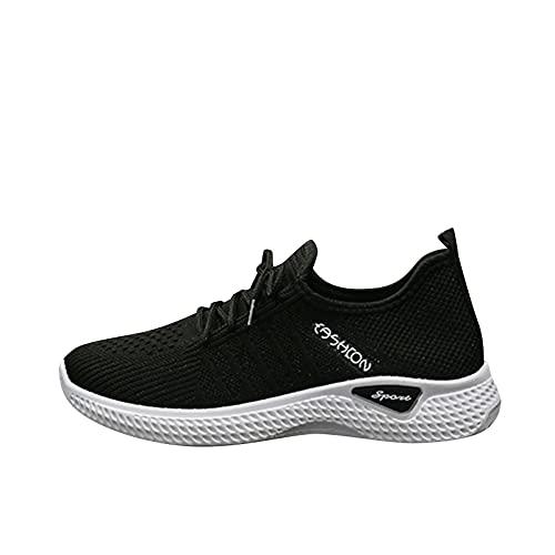Togethor Zapatillas de correr transpirables para mujer, para correr, ligeras, para gimnasio, fitness, correr, atletismo, casual, Negro, 5.5 UK