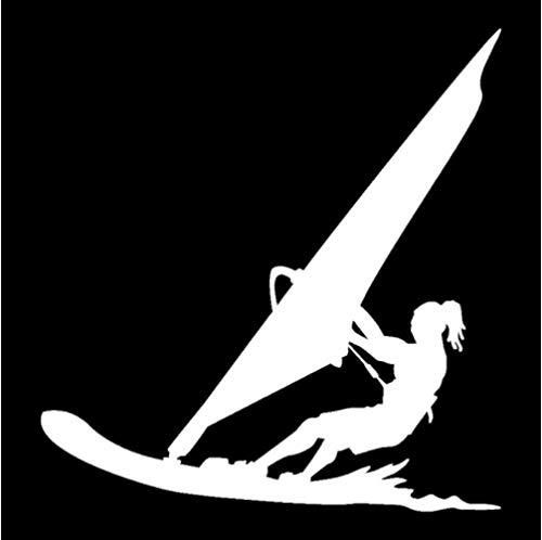 GenericBrands 4 Piezas Etiqueta engomada del Coche 15,9 CM * 16,7 CM Deportes acuáticos Windsurf Surfista Playa Vinilo Coche Pegatinas calcomanías Blanco