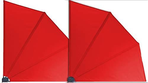GRASEKAMP Qualität seit 1972 2 Stück Balkonfächer Rot Premium 140 x 140 cm mit Wandhalterung Trennwand Sichtschutz