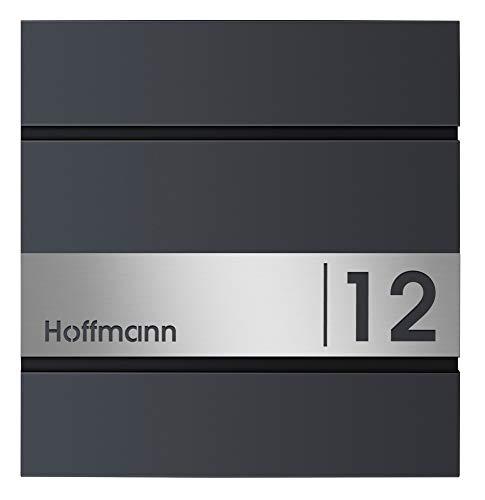 Frabox® Design Briefkasten LENS Anthrazitgrau RAL 7016 mit Hausnummer & Namen u. Zeitungsfach