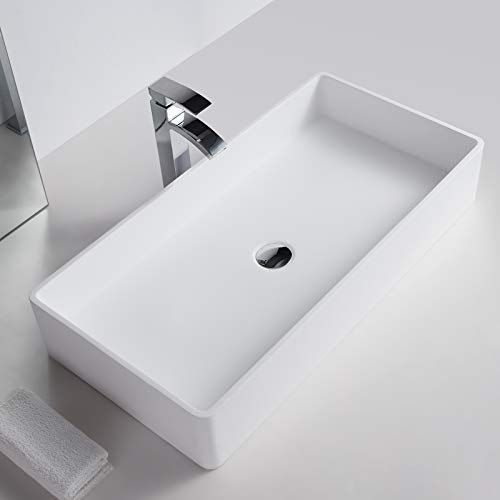 Bernstein Badshop Aufsatzwaschbecken PB2013 aus Mineralguss Solid Stone - 80 x 40 x 14,5 cm - Waschbecken in Weiß Matt