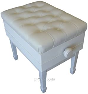 Adjustable Genuine Leather Artist Concert Piano Bench Stool in White with Music Storage