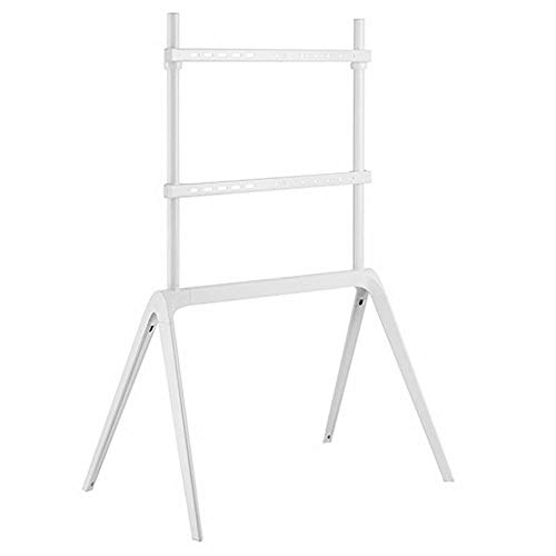 Aluminum TV Floor Mount Stand for 65-86 Inches Flat Curved TVs,White TV Floor Mounts Up to 60KG Tilting Height Adjustable,Max VESA 600x400mm