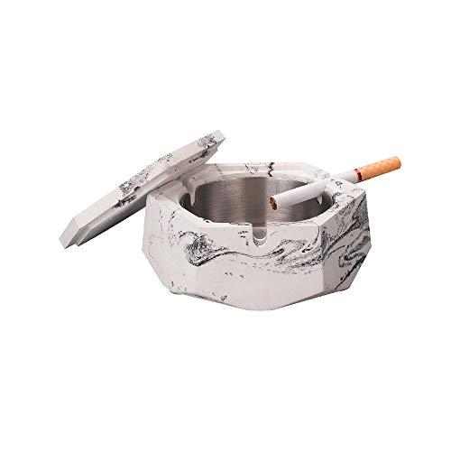 HAO SHOP Asbak Huishoudelijke woonkamer salontafel met deksel cement zwart en wit asbak