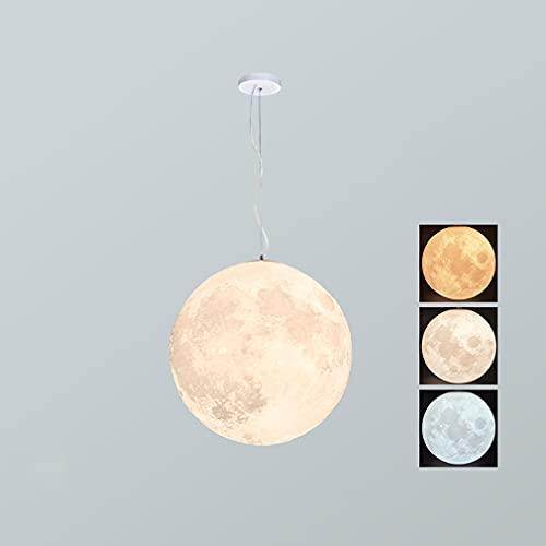 YUNZI Lámparas Colgantes De Luna con Impresión 3D - Universe Planet Lámpara De Noche De Techo Linterna Creativa Restaurante Bar Hogar Niños Dormitorio Iluminación Colgante LED,Blanco,25cm