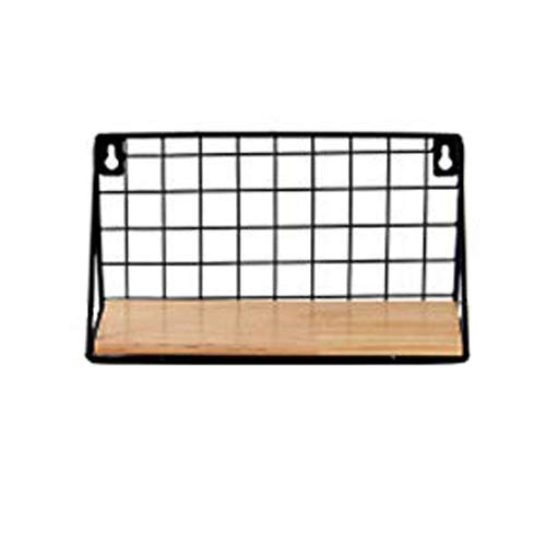 HNGPB Estante rectangular de metal montado en la pared flotante estantes decorativos de almacenamiento rejilla de almacenamiento estante de madera para cocina, dormitorio, sala de estar (negro, S)