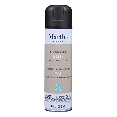 Martha Stewart Paint & Primer 8oz Spray Paint, Matte Beetle Black 8 Ounce