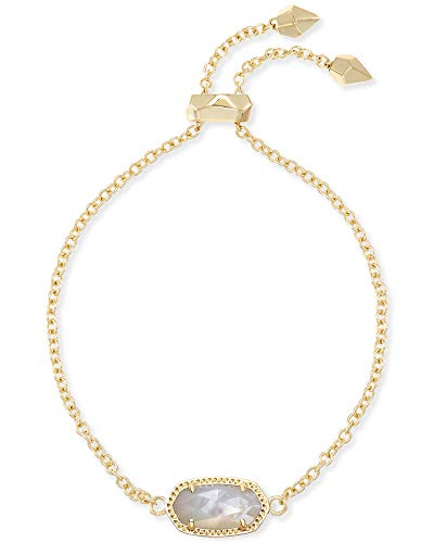Kendra Scott Elaina Link Chain Bracelet for Women, Dainty Fashion Jewelry, 14k Gold-Plated, Ivory Mother of Pearl