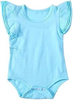 الوليد طفلة صبي ارتداءها الرضع تكدرت أكمام ملابس بذلة طفل رومبير الملابس (Color : Blue, Kid Size : 3M)