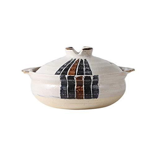 SHICCF Keramik Runde Casserole Bakeware Dish mit Deckel - Elfenbein-Weiß Mit Antik-Style-Finish