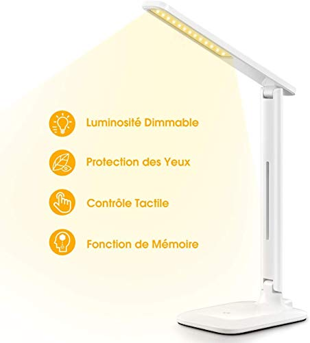 VicTsing Lampe de Bureau LED, 42 LED Lampe de Table Puissante 3 Modes de Couleur et 3 Niveaux d'intensité Réglable, Lampe de Chevet Tactile Protection des Yeux pour Lecture, Travail, Blanc