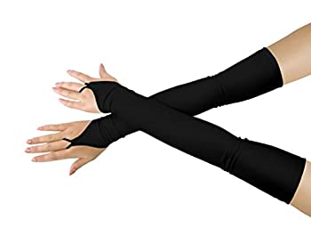 SHINNINGSTAR Girls  Boys  Adults  Stretchy Fingerless Over Elbow Cosplay Catsuit Opera Long Gloves  black