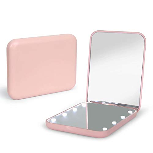 Pocket Mirror,1X/3X Magnification LED Compact Travel Makeup Mirror,Compact Mirror with Light,Purse Mirror,Distortion Free,Portable,Folding,Handheld,Small Lighted Compact Mirror for Gift,Purses,Pink…